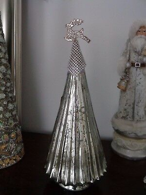 Silver Mercury Glass Metal Reindeer Sparkling Finial Christmas Holiday Tree New