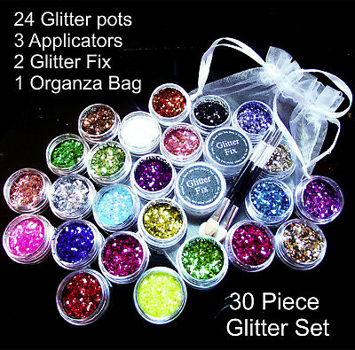 Festival Cosmetic Glitter Set 30 Piece Inc Glitter Fix Tattoo Body Face Nails UK