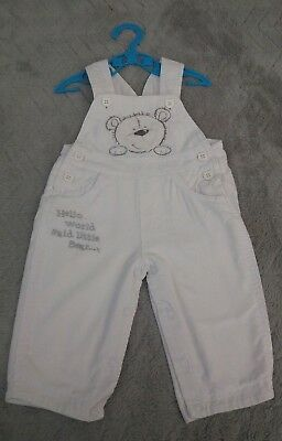 Baby Boys 100% Cotton White Corduroy Dungaree Trousers (3-6 Months)
