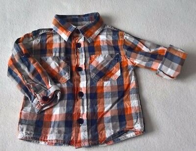 Baby Boys 100% Cotton Checked Orange Long Sleeve Shirt (6-9 Months) - By M&Co