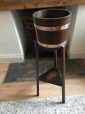 Original early 1900's Lister Oak Jardiniere with Brass Banding