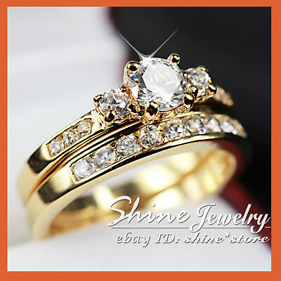 9K GOLD GF TRILOGY 3-Stone CHANNEL SET DIAMONDS ENGAGEMENT WEDDING SOLID RINGS