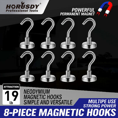 8pcs Strong 19LB Magnetic Hooks Heavy Duty Neodymium Hanger Set For Refrigerator
