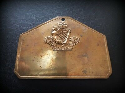 """Original Brass """"8th Kings Royal Irish Hussars"""" Bed/Foot Plate Early 20th Century"""