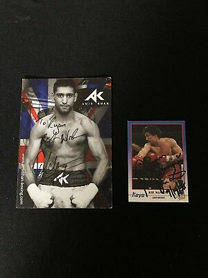 Two Original Hand Signed Boxing Promo Cards Amir Khan / Ray Mancini