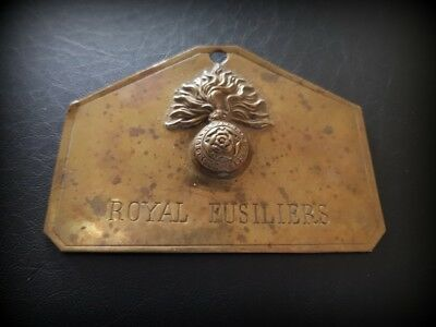 """Original Brass """"Royal Fusiliers"""" Bed/Foot Plate Early 20th Century"""