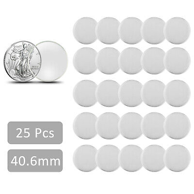 25X 40.6mm Clear Round Coin Cases Capsules Container Holder Storage Case Plastic