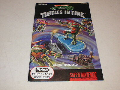 TMNT IV: TURTLES IN TIME instruction manual only for Super Nintendo SNES system
