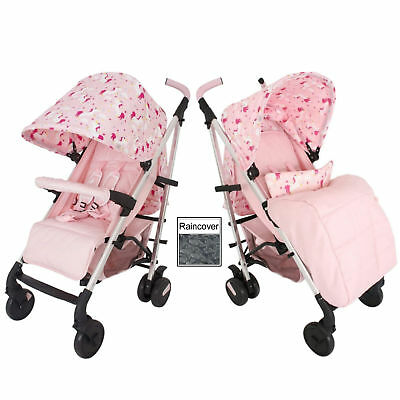 New My Babiie Pink Unicorns Mb51 Pushchair Compact Stroller With Raincover