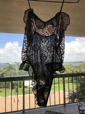 Vintage Teddy Nylon Lace Frilly Black Romper Size M Sheer French High Cut USA