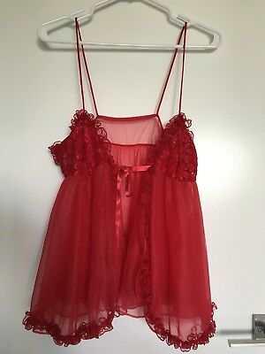 Vintage 80s Babydoll Thong Set Red Frilly Silky Sheer Nylon NOS Size Small USA