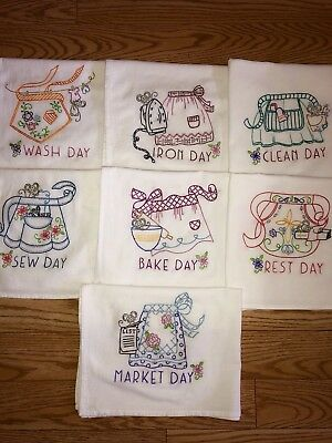 Set Of 7 Vtg Style Aprons Hand  Embroidered Flour Sack Dish Towels