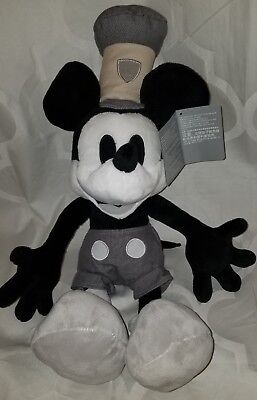 """New 2018 release Disney Store 18"""" Steamboat Willie Plush Mickey Mouse Black Gray"""