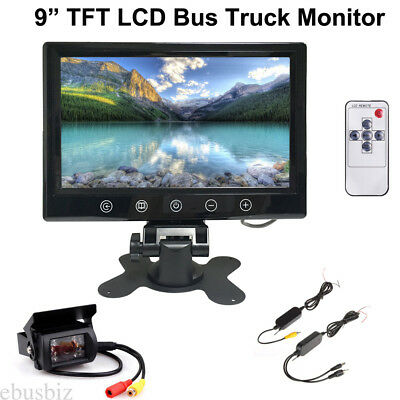 """Wireless Parking Rear View Camera Night Vision + 9"""" LCD Monitor for RV Truck Bus"""