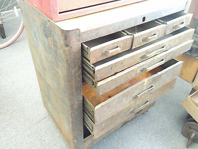 Vintage 7 Drawer Huot Rollaway Toolbox VTG Blue on Casters Cool Tool Box