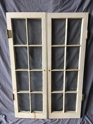 Pair Antique 8 Lite Casement Door Windows Cabinet Shabby 16X48 Vtg Chic  162-18C