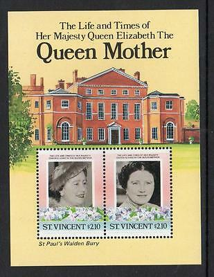 St Vincent MNH 1985 Leaders of the World  Life and Times of Queen Elizabeth M/S