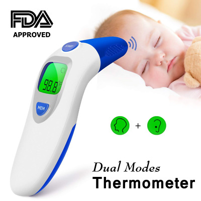 Dual Mode Forehead Thermometer, ideske Digital Display,Contactless  Ear for Home