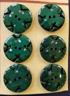 """Vintage Buttons - 6 Dark Green Casein 2-hole Carved 7/8"""" Patterned Buttons"""