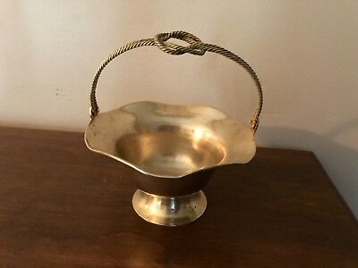 Vintage polished Brass Scalloped Basket with twisted rope handle candy nut dish