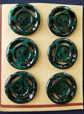 """Vintage Buttons - 6 Dark Green Casein 2-hole Carved 7/8"""" Square Center Buttons"""