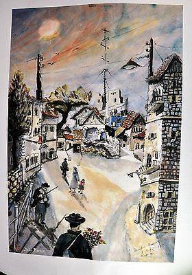 Dudu Barnis. Small town scene, 19th century. Nice watercolor. Signed. (BI#BSM)