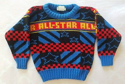 Vintage Momentum Boys Size 2T All Star Sweater Blue Red Yellow Black Checkered