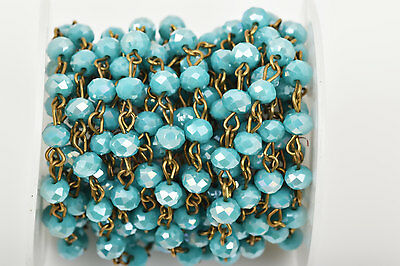 1yd TURQUOISE BLUE AB Crystal Rondelle Rosary Chain, bronze, 6mm beads fch0446a