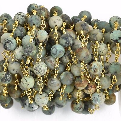 3ft Matte Green AFRICAN TURQUOISE Gemstone Rosary Chain gold 8mm round fch0777a