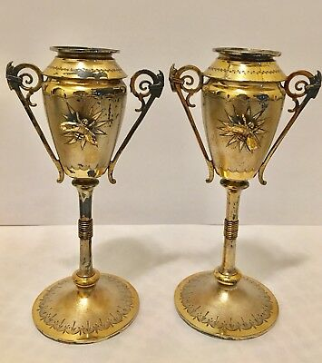Antique Victorian Pair Gorham Sterling Silver Aesthetic Bud Vases Applied Bees