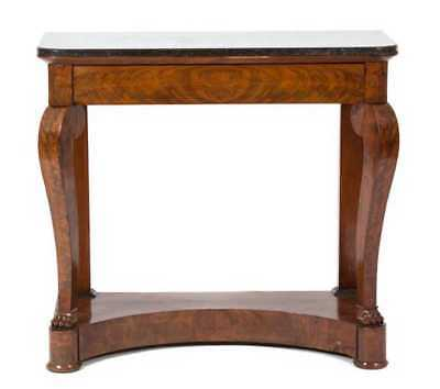 An American Antique Empire Style Mahogany Console Table 19th Ct Marble Top