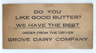 1925 Grove Dairy Company business card, Toledo, Ohio, ad history, butter