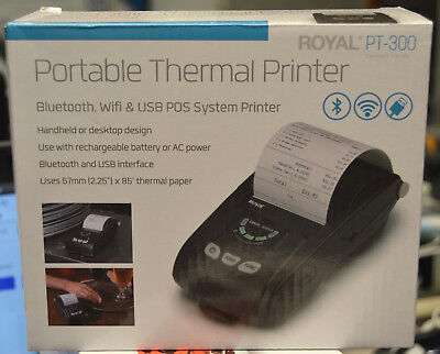 ROYAL PT-300 Portable Thermal Bluetooth WiFi USB POS System Printer Credit Card
