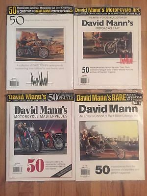 DAVID MANN (4) RARE SEALED BOOKS,50 Magnificent Works of Motorcycle Art MAGAZINE
