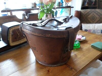 Stunning Vintage Victorian Bucket Double Leather Top Hat Box Ascot Storage