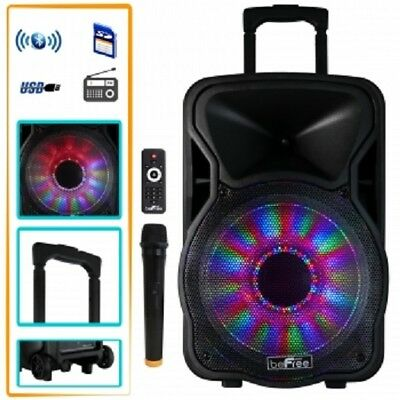 "beFree Sound 12""*BLUETOOTH*Portable RECHARGEABLE PARTY DJ PA SPEAKER*with LIGHTS"