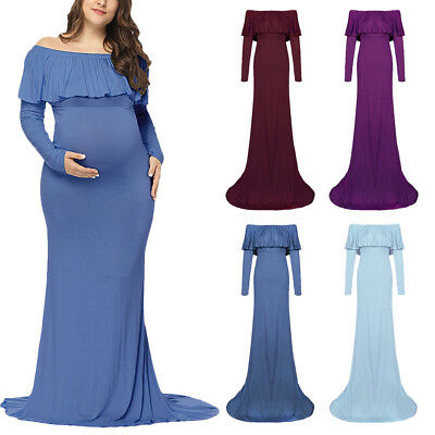 76ce1470e789b Ruffles Off Shoulder Maxi Long Maternity Baby Shower Dress For Photography  Props