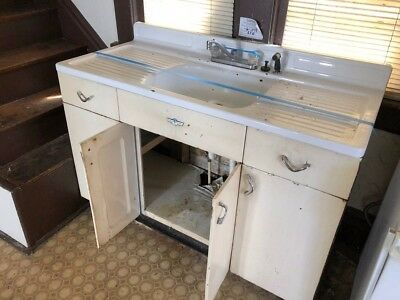 Vintage Porcelain Kitchen Sink Cast Iron Antique Double Drainboard Farm House