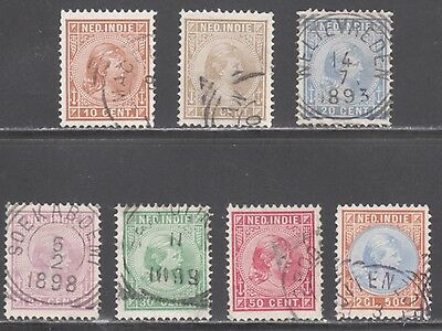 NETH INDIES STAMPS #23 30 QUEEN SET of 7 1892 - USED