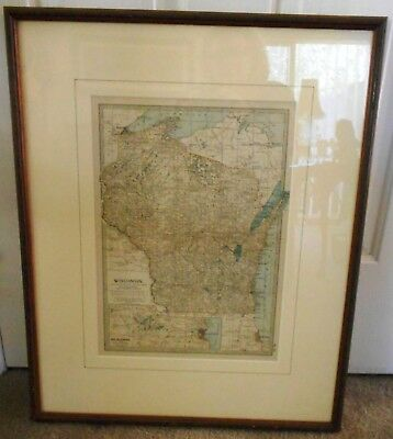 Antique 1903 Original Photogravure Map Of Wisonsin Usa Framed Behind Glass