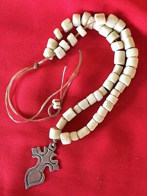 Antique Glass Trade Beads With Sterling Siver Cross Native American Southwest