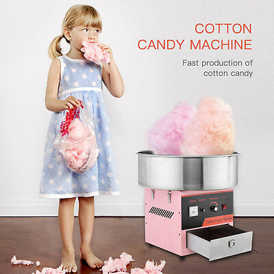 Cotton Candy Machine Commercial Electric Candy Floss Maker Kids Stainless Steel