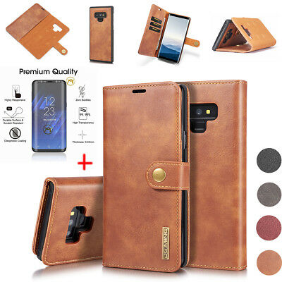 For Samsung Note 9 S9 S8 + S7 Stand Leather Cover Wallet Case + Screen Protector