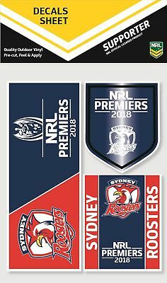 Sydney Roosters Premiers 2018 NRL iTag UV Car Logo Decal Sticker Sheet (3 Pack)
