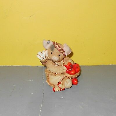 """Enesco This Little Piggy Indian w/ Apples """"I Shouldn't Hog  All These To Myself"""""""