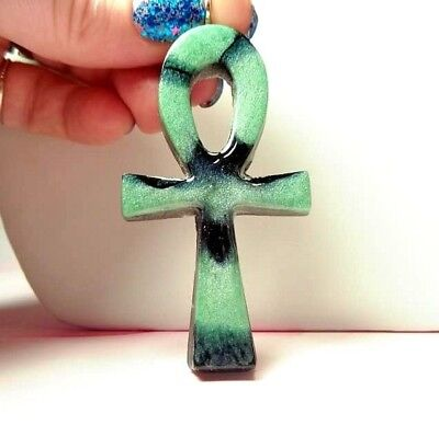Lime Green And Black Resin Pour Ankh Orgonite® Pendant