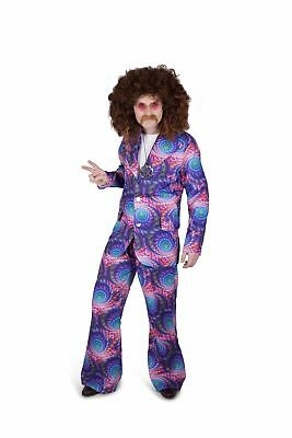 Mens 60s 70s Boho Groovy Hippie Adult Fancy Dress Costume Stag Party Outfit