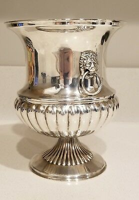 Alfred Marston Silverplate Ice Champagne Holder - Lion Ring Handles