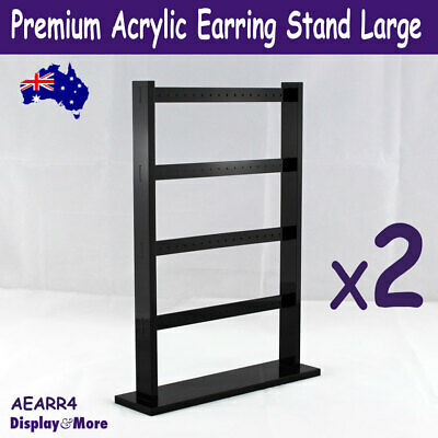 Earring Holder Stand | 2pcs | Black Acrylic LARGE 4 Levels | AUSSIE Seller