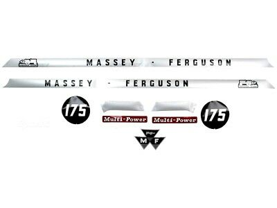Complete Bonnet Decal Set Fits Massey Ferguson 175 Tractors. High Quality